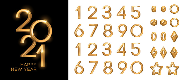 3d gold numbers set