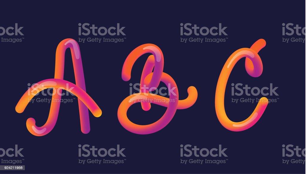3d Gradient Lettering Font Set With Letter