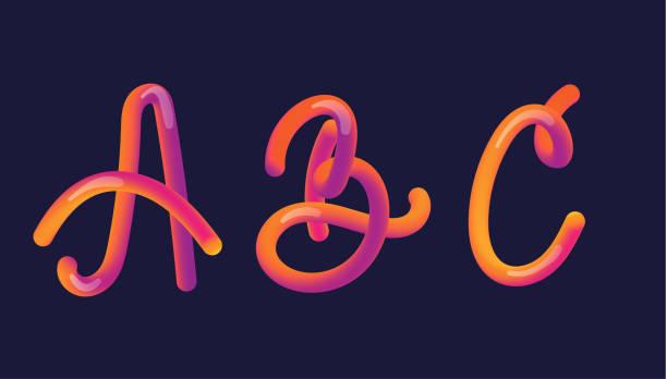 Letras de gradiente 3D. Letra con letra - a, b y c. Forma vibrante de gradiente. Camino de color líquido. Ilustración de vector de tipografía. Letra de burbuja con reflejo. Estilo futurista vectoriales 10 EPS. - ilustración de arte vectorial