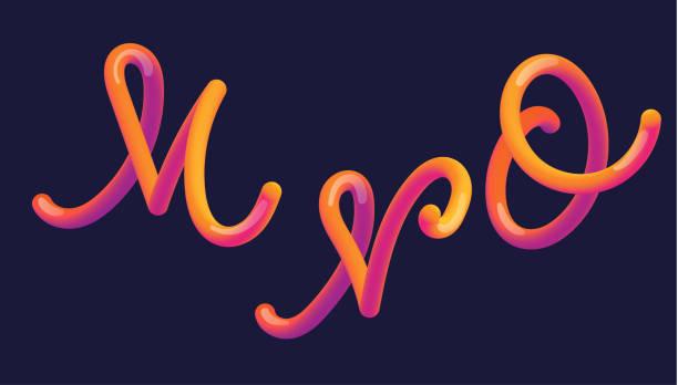 Letras de gradiente 3D. Letra con letra - m, n, o. vibrante forma gradiente. Camino de color líquido. Ilustración de vector de tipografía. Letra de burbuja con reflejo. Estilo futurista vectoriales 10 EPS. - ilustración de arte vectorial