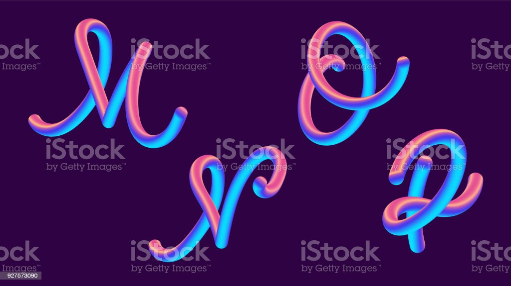 3d gradient lettering holographic font set with letter m n o p