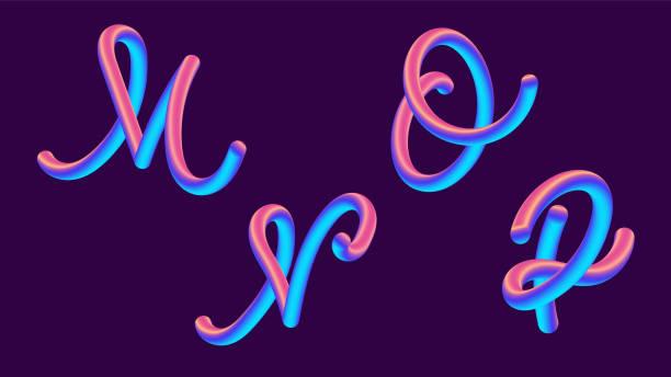 Letras de gradiente 3D holográfica. Fuente establece con letra m, n, o, p. forma de gradiente vibrante. Camino de color líquido. Ilustración de vector de tipografía. Letra de burbuja con reflejo. Estilo futurista vectoriales 10 EPS. - ilustración de arte vectorial