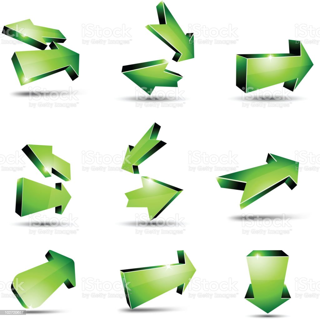 3d green arrows. royalty-free 3d green arrows stock vector art & more images of arrival