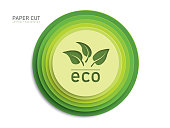 3d green eco button shapes on white background in paper cut style and leaves. Vector design multi layered wheels width shadow.