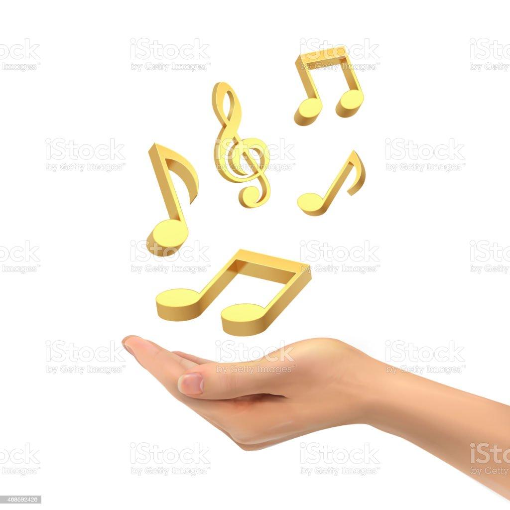 3d hand holding music notes vector art illustration