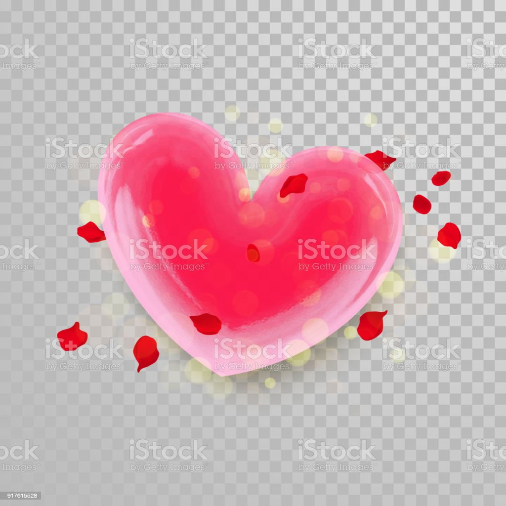 3d Heart And Flower Petals Blossom On Transparent Background For