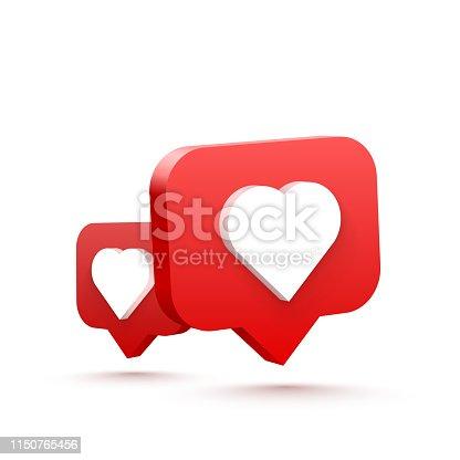 istock 3d heart like social network. white background. Vector illustration 1150765456