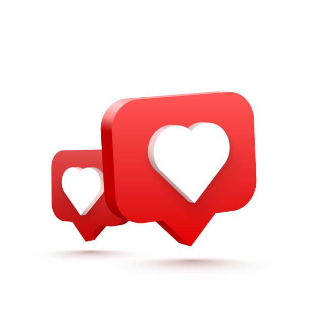 3d heart like social network. white background. Vector illustration 3d heart like social network. white background. Vector illustration like button stock illustrations