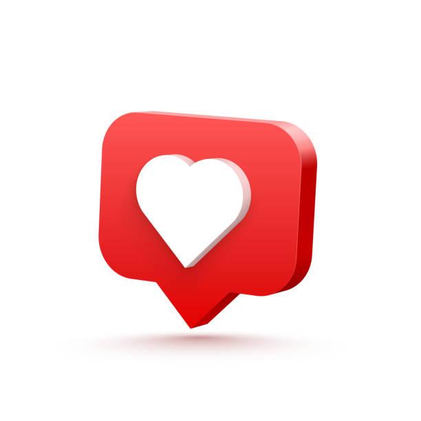 illustrazioni stock, clip art, cartoni animati e icone di tendenza di 3d heart like social network. white background. vector illustration - like