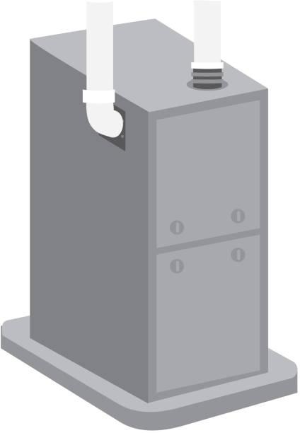 3d home furnace vector art illustration