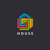 3d home vector design template, abstract geometric house symbol, building company icon