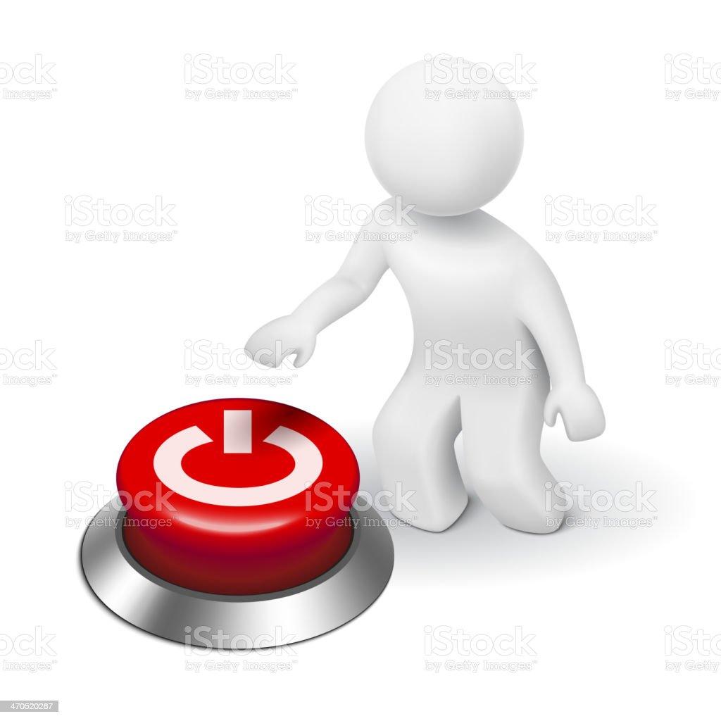 3 d personagem humano, pessoa e um botão de
