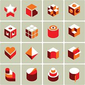 16 3d icons.