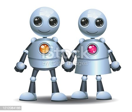 3d illustration of  little robot fat obesity couple on isolated white background