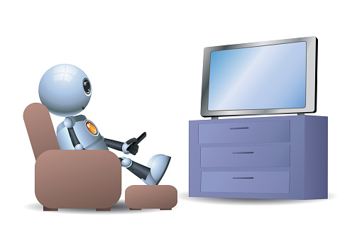 3d illustration of  little robot watching tv while sit on sofa