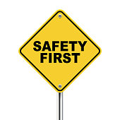 3d illustration of safety first road sign  isolated on white background