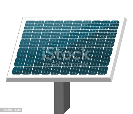 istock 3d illustration of solar cell or Photovoltaics module (PV module, Solar module) isolated on white background. Environmental conservation or energy saving concepts. 1309523034
