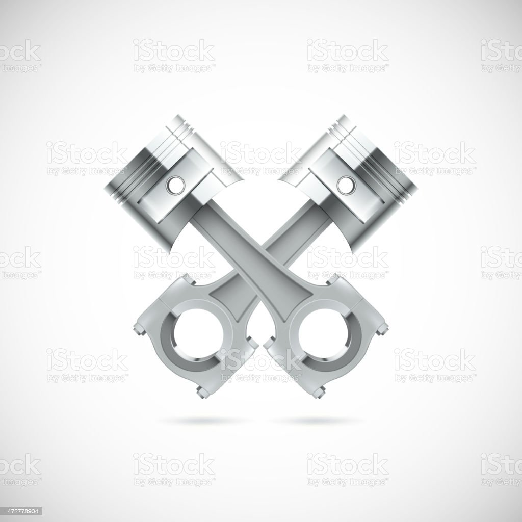 A 3d illustration of two piston with white background  vector art illustration