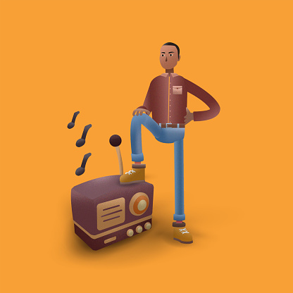 3d illustration, young man with radio.
