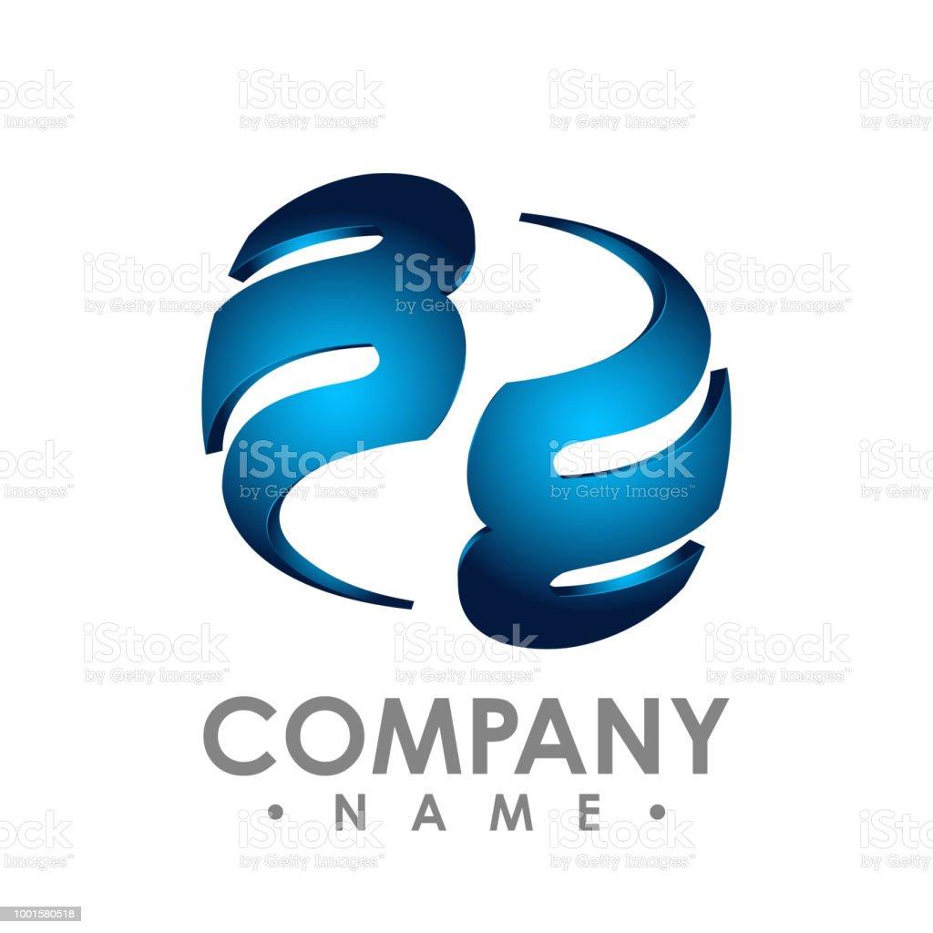 ea685a572 logotipo de letra B inicial 3D design modelo elemento colorido azul círculo  verde para o negócio