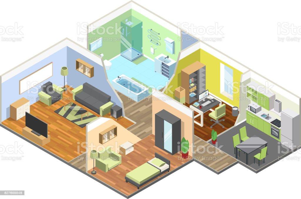 D interieur van modern huis met keuken woonkamer badkamer en