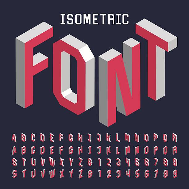 stockillustraties, clipart, cartoons en iconen met 3d isometric alphabet vector font. - borden en symbolen