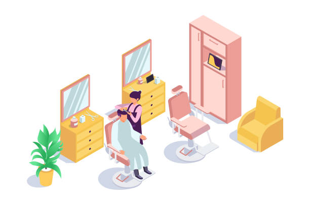 クライアント男と美容師の女性と3d アイソメ理髪店。 - 美容室 3d点のイラスト素材/クリップアート素材/マンガ素材/アイコン素材