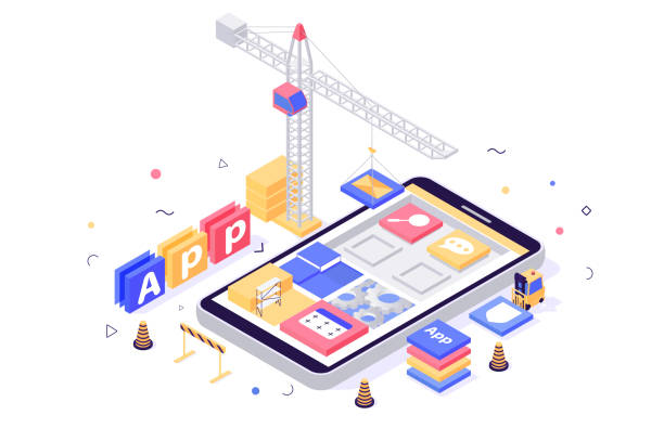3d isometric build mobile application with search, message, setting, book icons, crane, forklift. 3d isometric build mobile application with search, message, setting, book icons, crane, forklift. Concept abstract program development with construction equipment. Low poly. Vector illustration. low stock illustrations