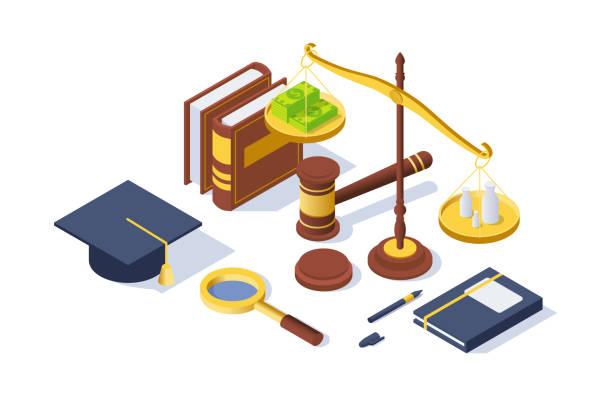 3d isometrische justizgeräte mit hammer, stift, libiebesaldo, buch. - geldstrafe stock-grafiken, -clipart, -cartoons und -symbole
