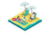 3d isometric man and woman couple with equipment on beach. Concept isolated young characters on vacation with laptop, tablet, chairs near sea. Low poly. Vector illustration.