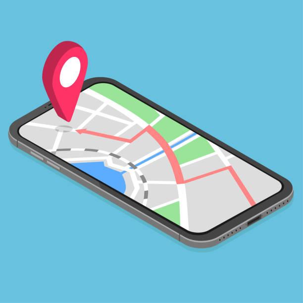 3d isometric mobile GPS navigation concept vector art illustration