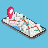 3d isometric mobile GPS navigation concept.