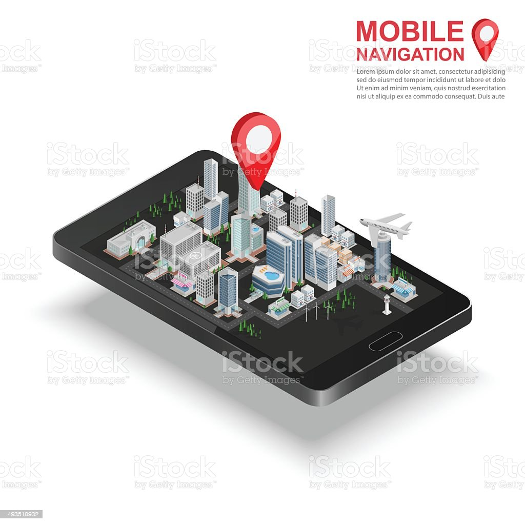 3d isometric mobile GPS navigation concept, vector vector art illustration