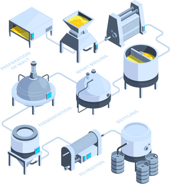3d landscape of brewery. vector isometric background of plant for beer production - brewery tanks stock illustrations