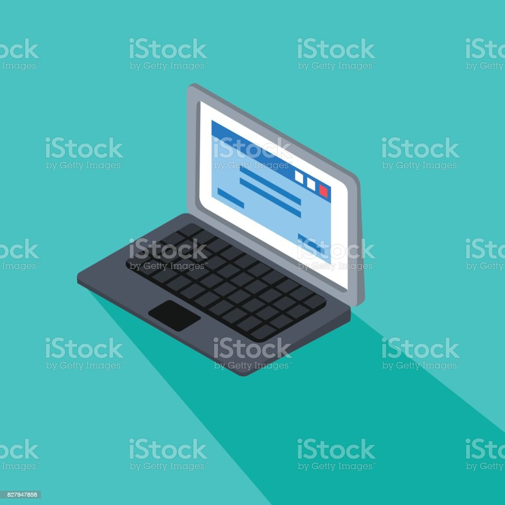 3d laptop with blue tab screen vector on blue screen.Flat computer isolated background. vector art illustration
