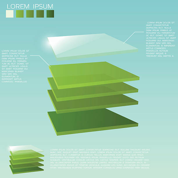 3d layers background Five 3D square layers in green colors with transparent upper layer. layered stock illustrations