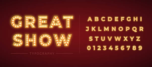 3d light bulb alphabet with gold frame isolated on dark red background. 3d light bulb alphabet with red frame isolated on dark red background. Broadway show style retro glowing font. Vector illustration. performance stock illustrations