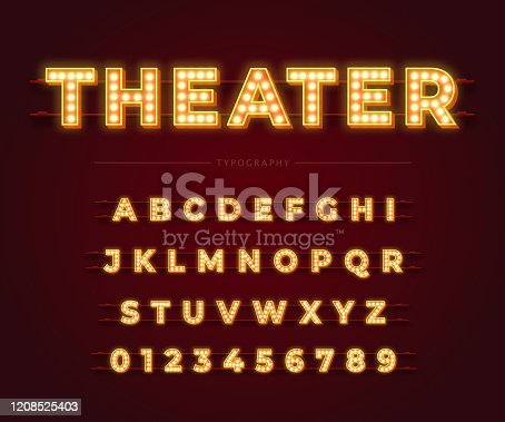 istock 3d light bulb alphabet with gold frame isolated on dark red background. 1208525403