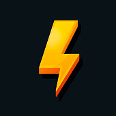 3d Lightning icon. Cartoon style. Power, charge, energy icon concept. Vector illustration.