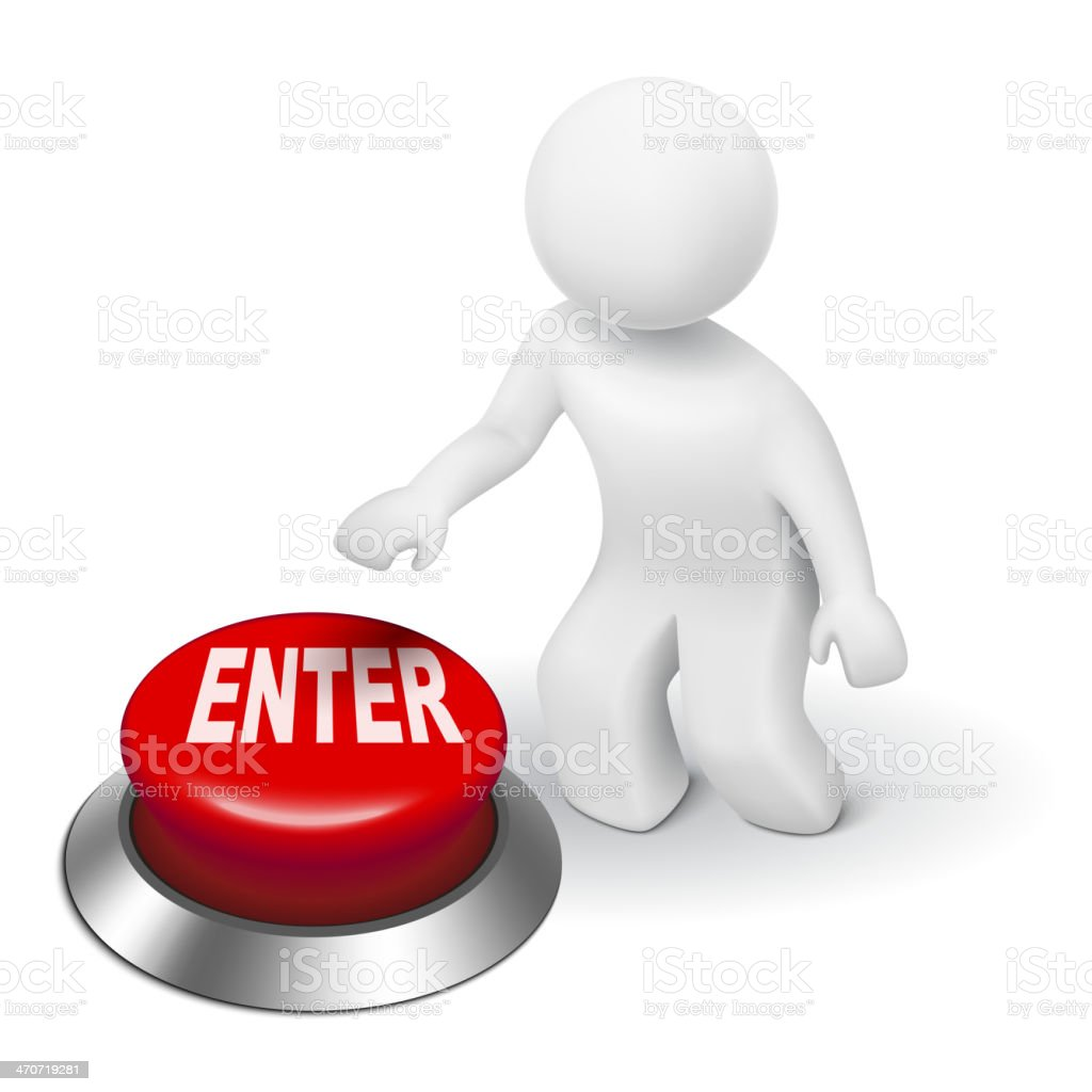 3d man is pushing the 'ENTER' button royalty-free stock vector art