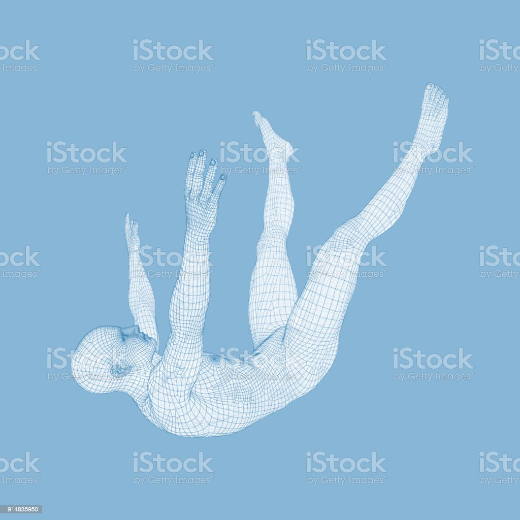 3d Man Slipping And Falling Silhouette Of A Man Fallen Down 3d Model