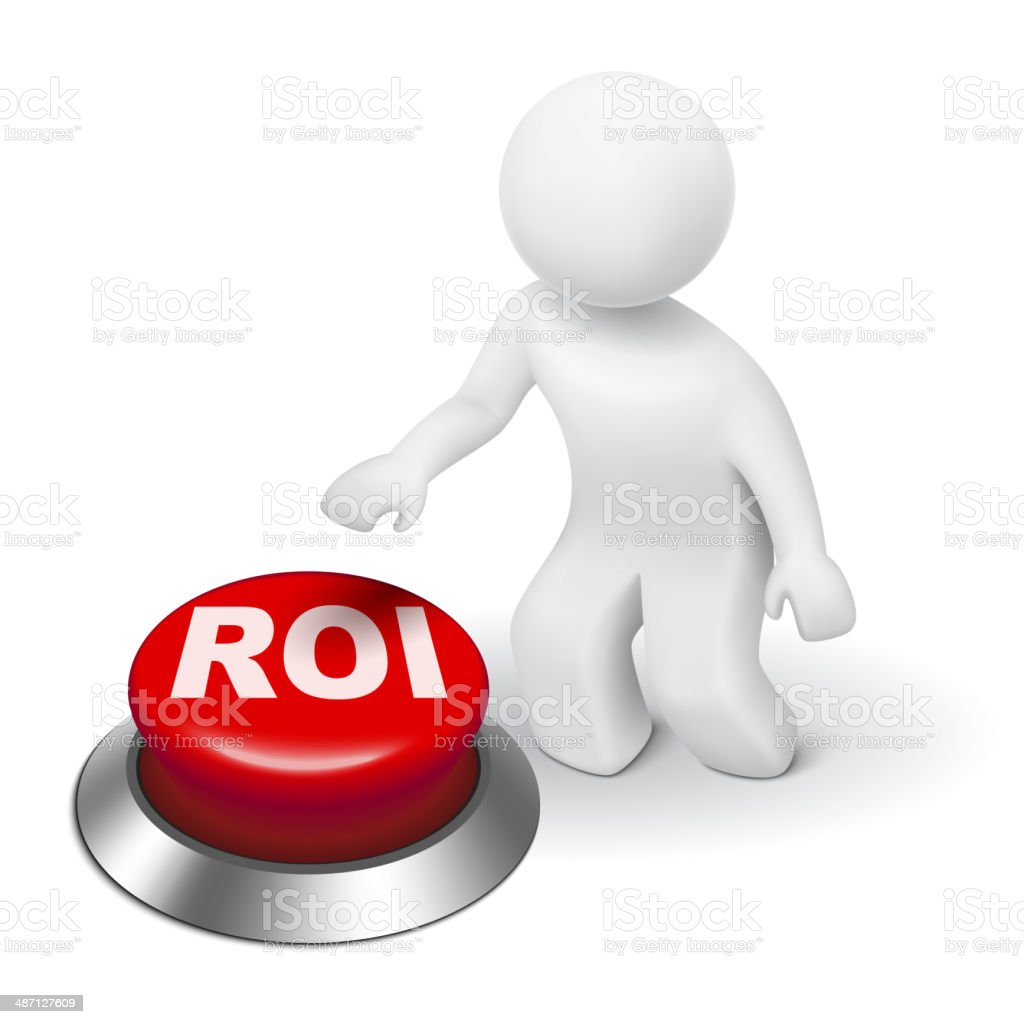 3d man with roi (return on investment) button vector art illustration