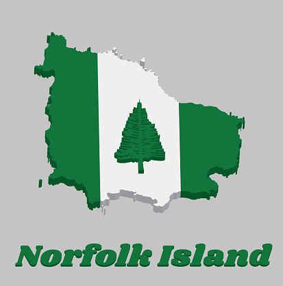 3d Map outline and flag of Norfolk. Norfolk Island Pine in a central white stripe between two green stripes.