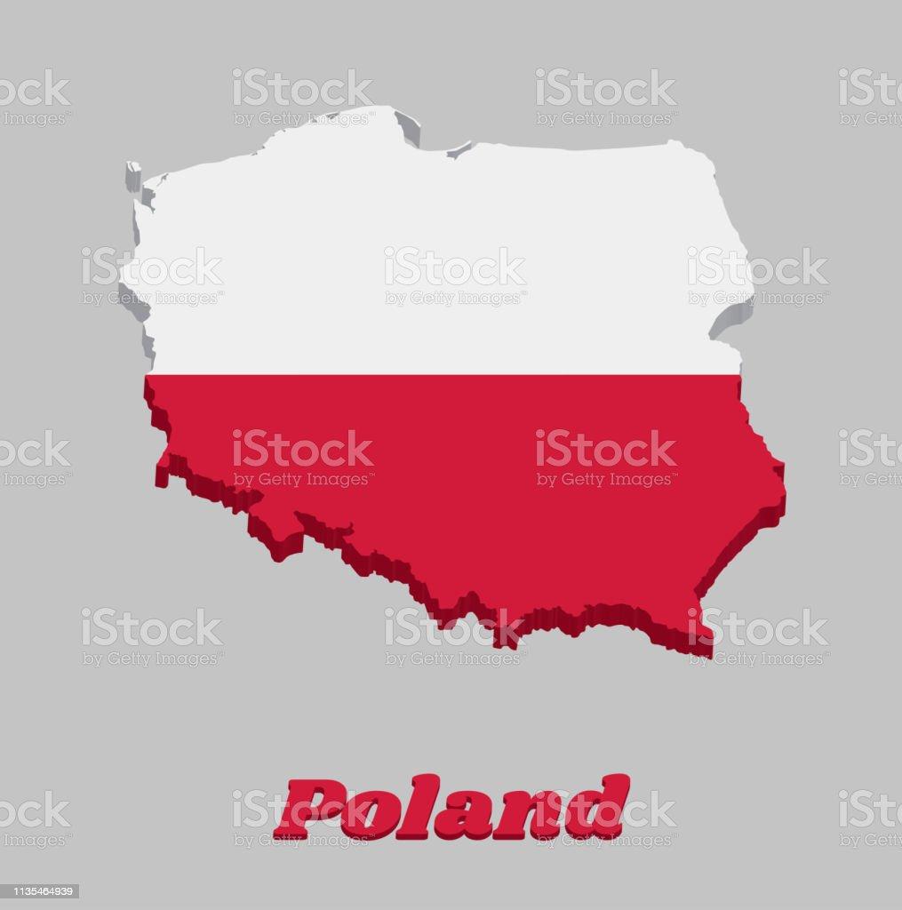 Polen Karte Umriss.3d Karte Umriss Und Flagge Von Polen Ein Horizontaler