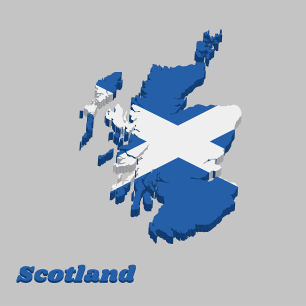 3d Map outline and flag of Scotland, it is a blue field with a white diagonal cross that extends to the corners. 3d Map outline and flag of Scotland, it is a blue field with a white diagonal cross that extends to the corners with text Scotland. alba stock illustrations