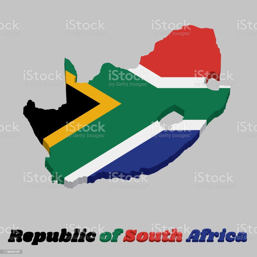 3d Map Umriss Und Flagge Von Südafrika Eine Horizontale Aus