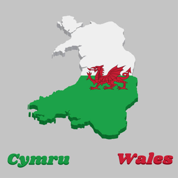 3d map outline and flag of wales, consists of a red dragon passant on a green and white field. - wales stock illustrations, clip art, cartoons, & icons