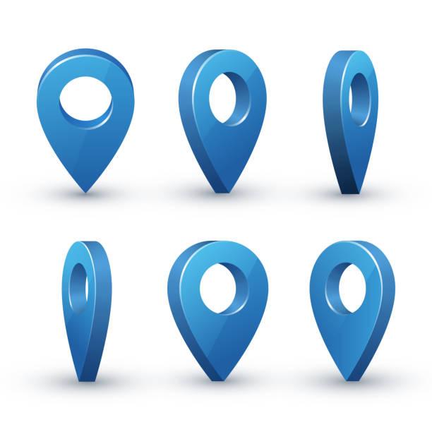 ilustraciones, imágenes clip art, dibujos animados e iconos de stock de sistema de puntero de mapa 3d - íconos 3d