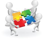 3d men white people work together,puzzle solution concept vector..