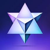 3d Merkaba, esoteric crystal, sacral geometry shape, volume star on dark background, mesh form, abstract vector object